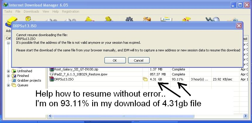 help idm cannot resume downloading the file problem