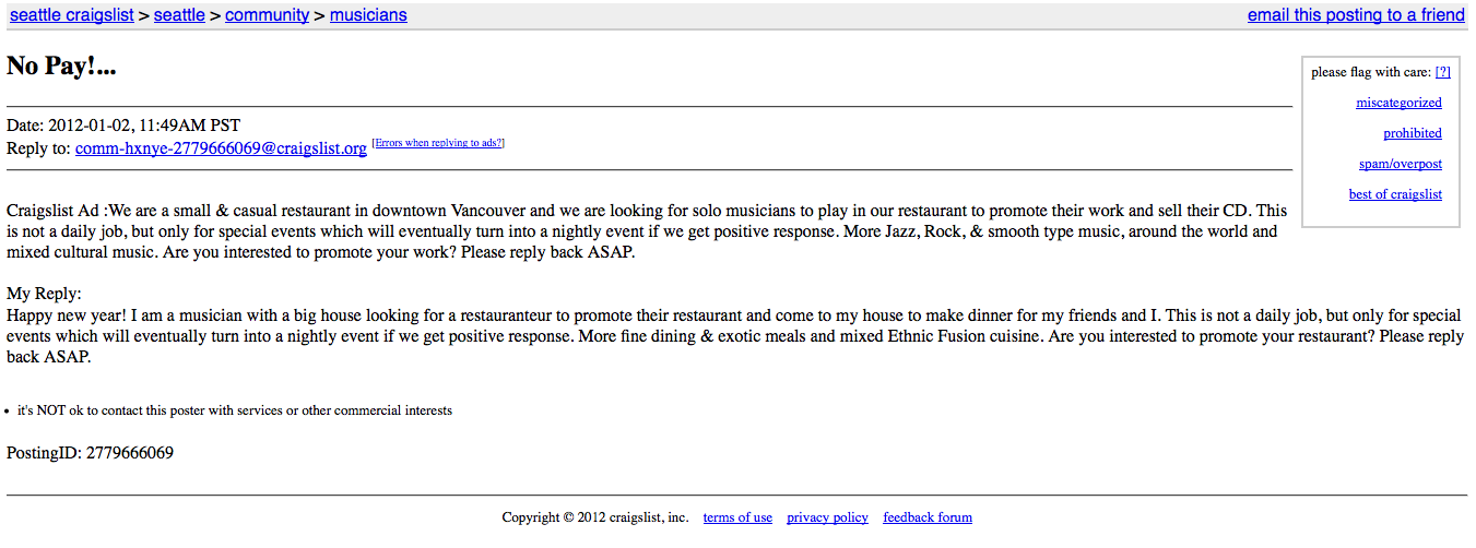 "Craigslist Ad : For ""Exposure"" & Musician's Reply ! 